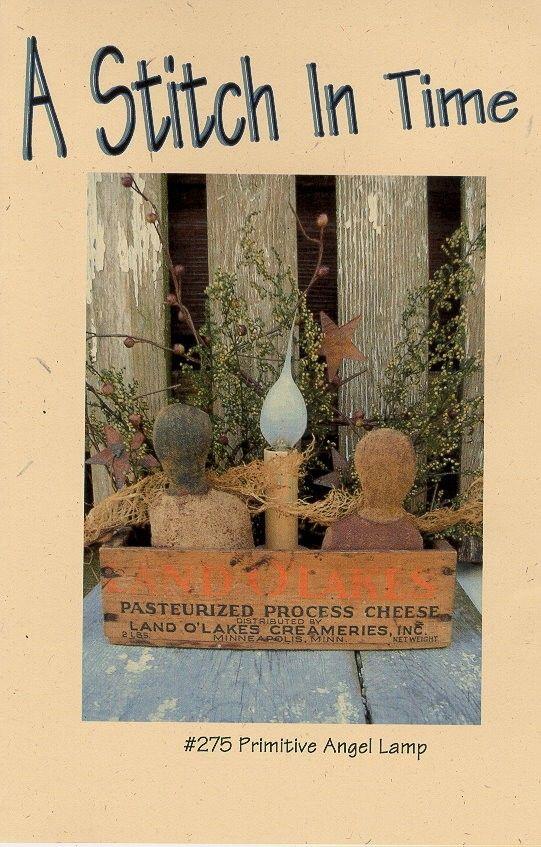 Primitive Angel Lamp Primitive Doll Pattern Folk Art Holiday Cheese Cloth Wood Cheese Box Repurposed