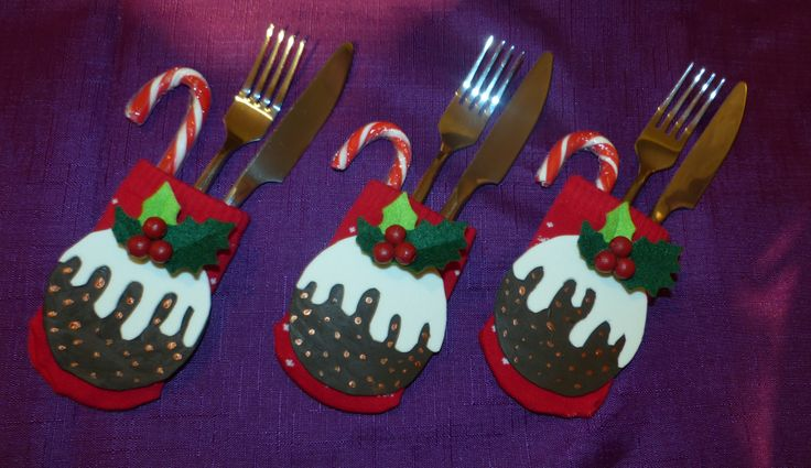 I made some Christmas pudding cutlery holders!                                                                                                                                                                                 More