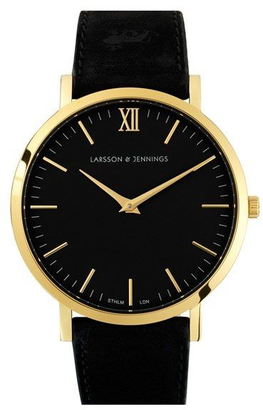 LARSSON & JENNINGS 'Läder' Leather Strap Watch, 40mm