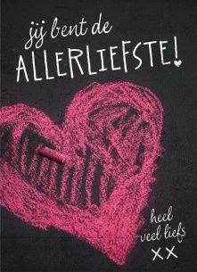 Liefde kaart - Vriendschapskaart - stoepkrijt-jij-bent-de-allerliefste