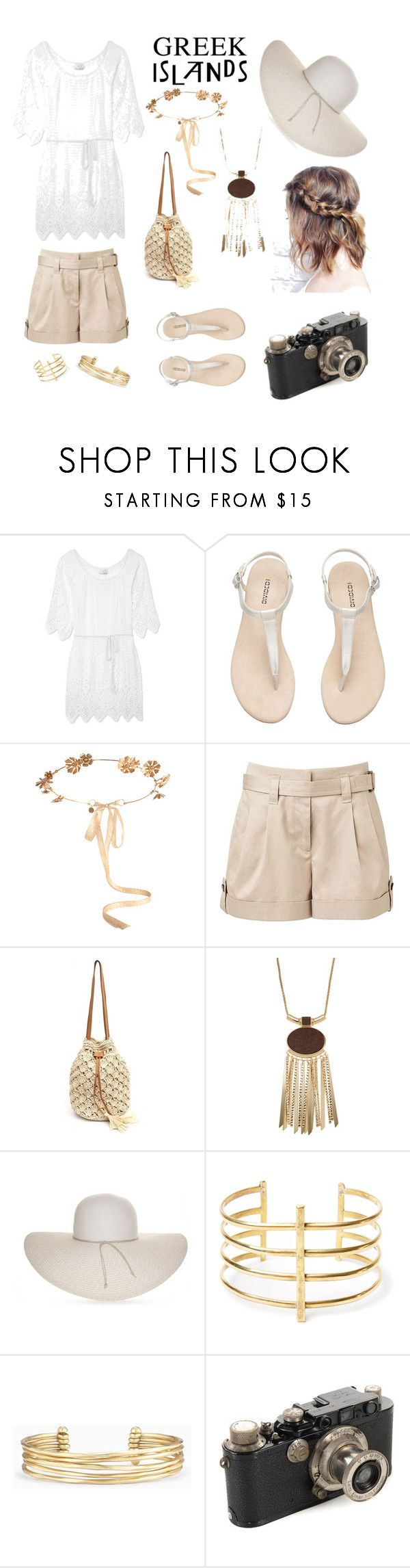 """Greek on Fleek"" by ferranong on Polyvore featuring Miguelina, Eugenia Kim, Witchery, Nine West, BauXo, Stella & Dot, Leica, Packandgo and greekislands"