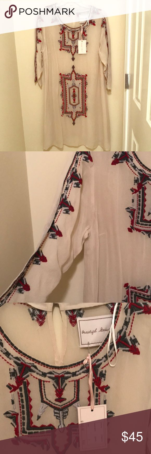 NWT Beautiful Stories Sheer Embroidered Dress Gorgeous cream/nude color sheer tunic dress with embroidered design. Beautiful Stories, sold by Anthropologie. Purchased at sample sale (meaning it could be one of a kind). Size small. No official tags for material or wash instructions. Guess would be hand wash and 100% polyester. ** would need nude slip for this. Approx measurements are armpit to armpit: 21 in and length: 37 in. Anthropologie Dresses Midi