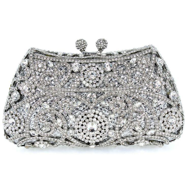 Crystal Flower Silver Color Metal Evening Wedding Bridal Party Night Purse Clutch Bag Women Handbag FREE