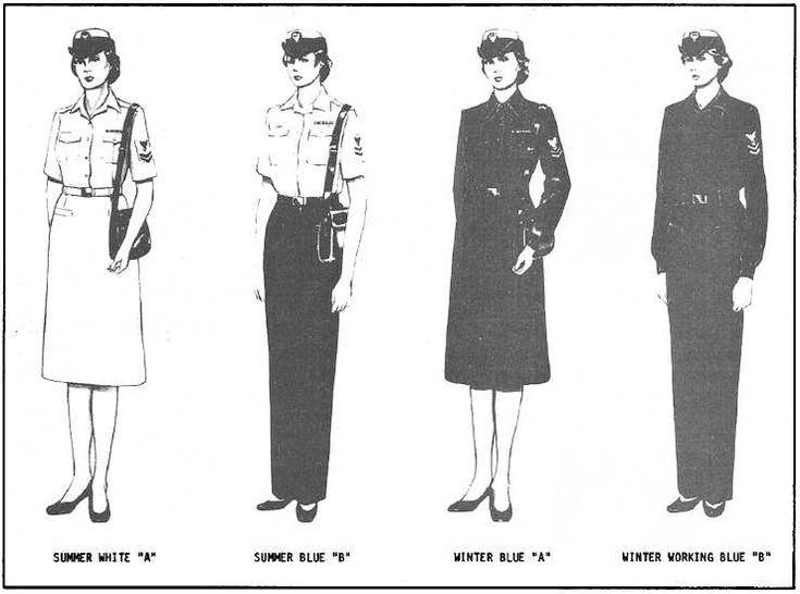 Chapter 2 uniform illustration from 1981 edition of United States Navy Uniform Regulations (Female).