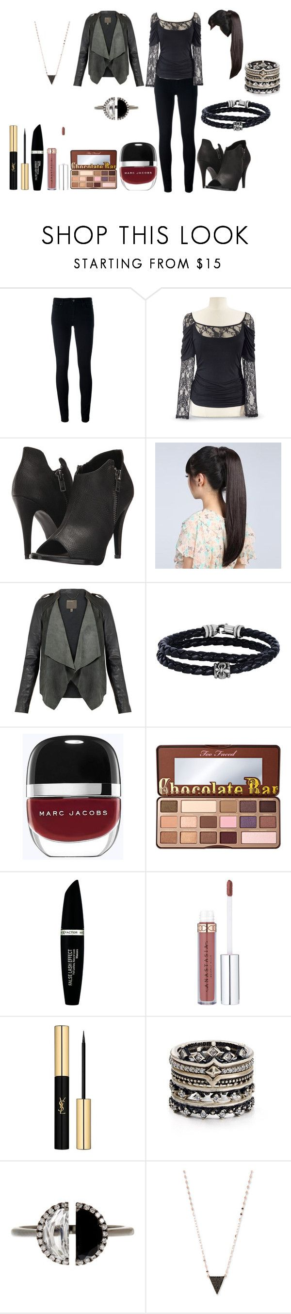 """Untitled #828"" by michelle-konner ❤ liked on Polyvore featuring Levi's, Michael Antonio, Wigs2You, MuuBaa, Phillip Gavriel, Marc Jacobs, Too Faced Cosmetics, Max Factor, Yves Saint Laurent and Kendra Scott"