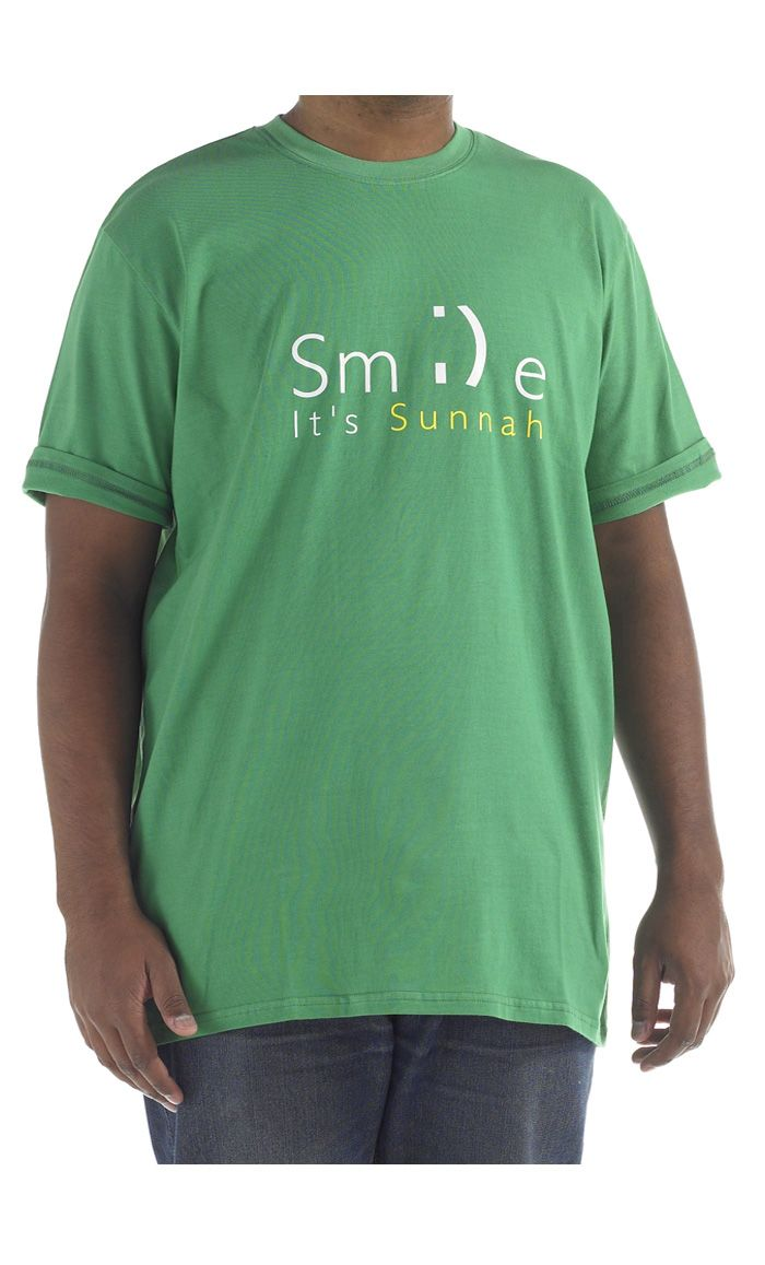 Smile Its Sunnah.  100% cool comfortable cotton t-shirt.