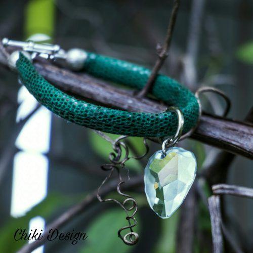 Leather Bracelet with Swarovski Elements – Chiki Custom made unique jewelry. Chiki Design