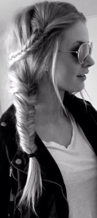 Fishtail braid  Wash hair, use anti-split by pureology and then blow dry. Braid the side, take the bottom half of the hair and fishtail to the side of the hair and tie with a band. Pull out some loose hairs and finish with a light hold hair spray by Redken.