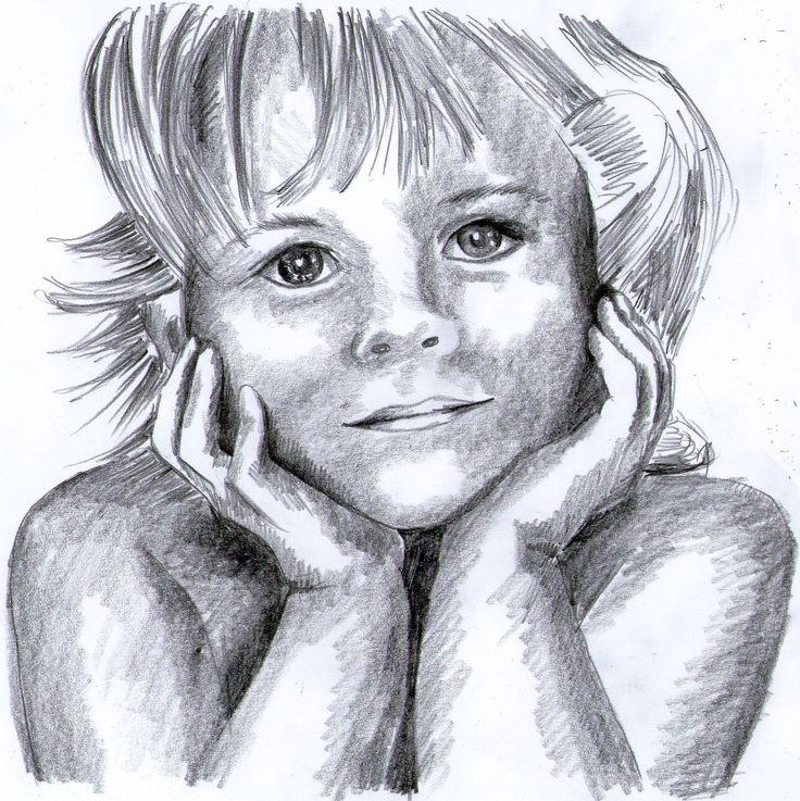 Portret dziewczynki rysowany ołówkiem ze zdjęcia