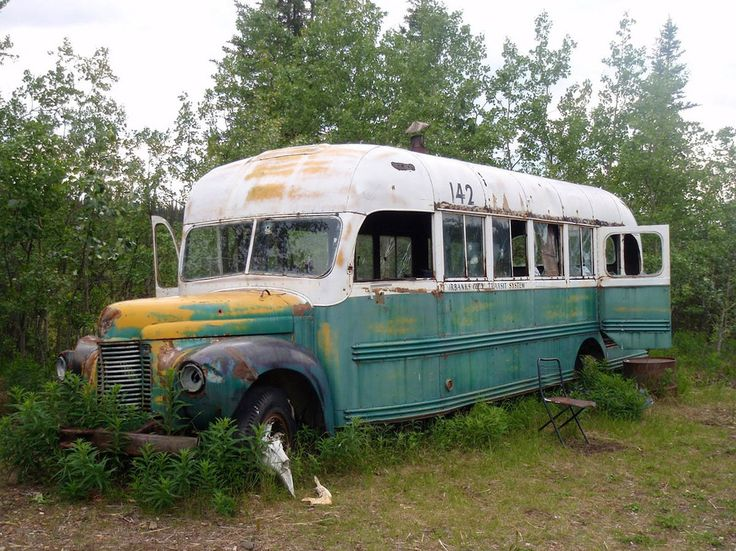 """Chris McCandless' magic bus, Stampede Trail, Alaska - Bus 142 was left behind by the workers who built the railway at Stampede Trail. Christopher McCandless, an American hitchhiker whose story was told through the movie """"Into The Wild, lived and died in what he referred to as the """"magic bus"""" during the summer of 1992."""
