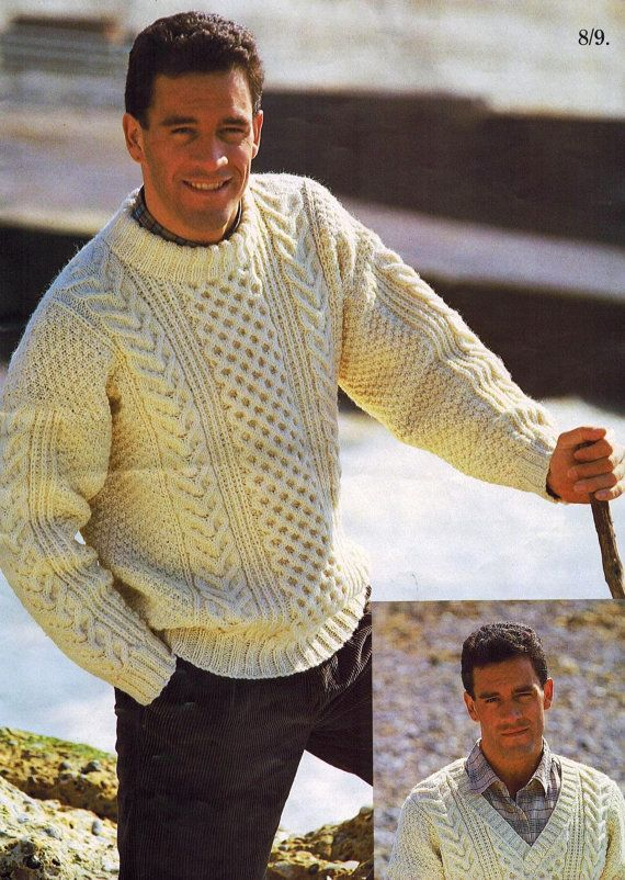 Keep the tradition alive with this cozy vintage pattern from 1987. Originally published in England as part of the Outdoor Arans collection.  Includes instructions to make 2 different styles of sweater (crew neck and v-neck, as pictured) in a range of sizes using Patons yarn.  Includes General Instructions and notes for reference.  Pattern is in PDF format.