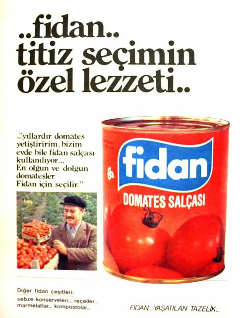 OĞUZ TOPOĞLU : fidan domates salçası 1975 nostaljik eski reklamla...