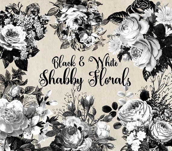 White And Black Shabby Floral Clip Art Digital Instant Download Gothic Vintage Flower Png Embellishments White Roses Commercial Use Clip Art Vintage Flowers Black And White