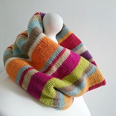 Scraptastic is a striped cowl pattern worked in the round. The pattern is free on my website.