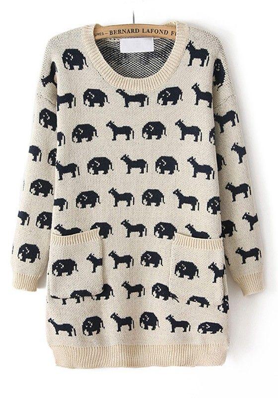 ++ white animal print round neck loose cotton sweater