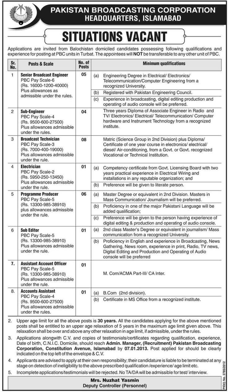 jobs in pakistan broadcasting corporation