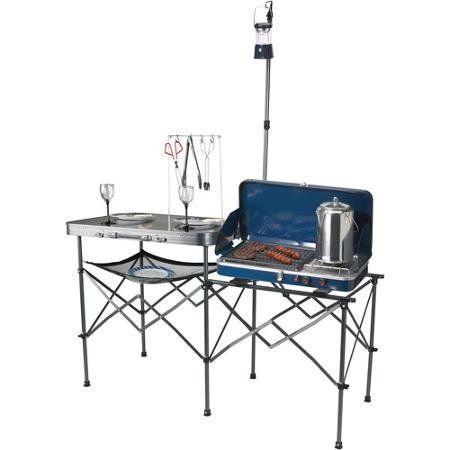Ozark Trail Deluxe Portable Camp Kitchen Table With Side