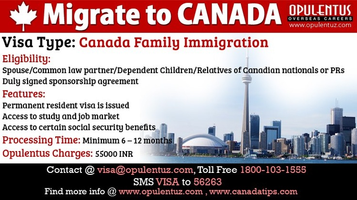 Canada Family Immigration, also known as Canada Sponsored Visa or Canada Family Visa or Dependent Visa allows main applicant to take their family to Canada.  Applicants who are Canadian nationals or permanent residents can sponsor their husband/wife, conjugal partner, common-law partner, dependent child (including adopted child) or other eligible relative (such as parent or grandparent) to become Canadian permanent resident.