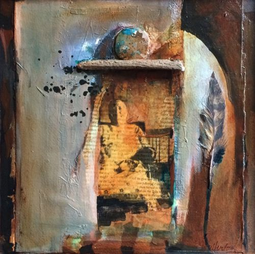 Grandmother Moon-mixed media collage by Joan Fullerton Mixed Media ~ 12 x 12