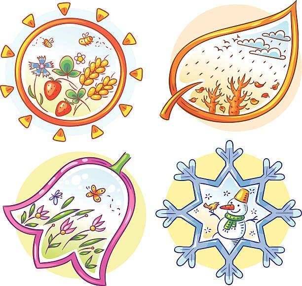 As quatro estações - ilustração de arte vetorial