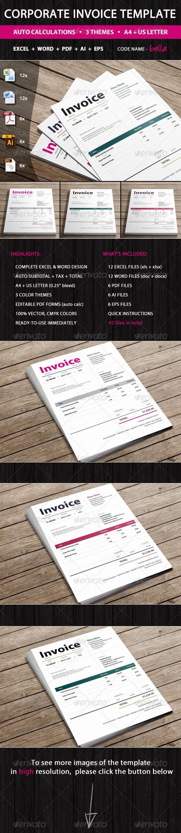 Invoices #GraphicRiver Invoices Bella is professional invoices template by Invoicebus in 3 color variants, ready to guideline and simplify your invoicing process. Additionally, we believe that its clean, elegant design and subtle layout will reinforce your professionalism and make you stand out. Bella's structure is generic, so you may use it for various business types or services. File Formats: Excel (.xls, .xlsx), Word (.doc, .docx), PDF, AI, EPS Excel, Word and PDF files are super simple to u