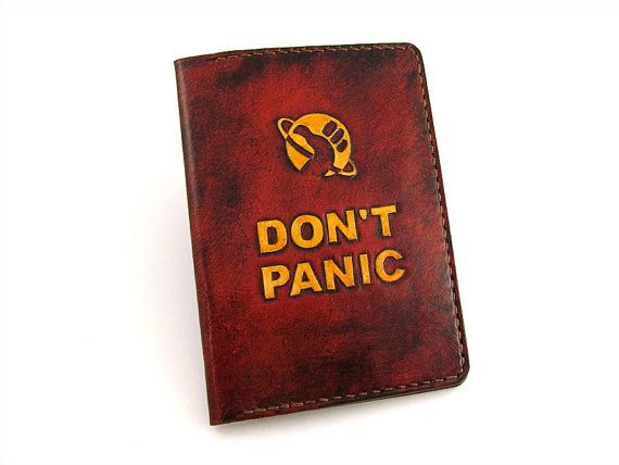 Don't Panic stamped Leather Passport Cover. The Hitchhiker's Guide to the Galaxy Style Boarding Pass Holder.