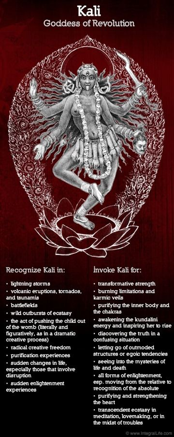 """Many images of Kali show her with a long tongue, caught in the act of licking the blood of warriors. In these images, she often appears as a hag, emaciated, ugly, with fangs, and with blood dripping from her tongue. But as human consciousness evolved over the centuries, so, it seems, did the image of Kali. Her body became beautiful, as it is in most modern representations."" -""Awakening Shakti"""