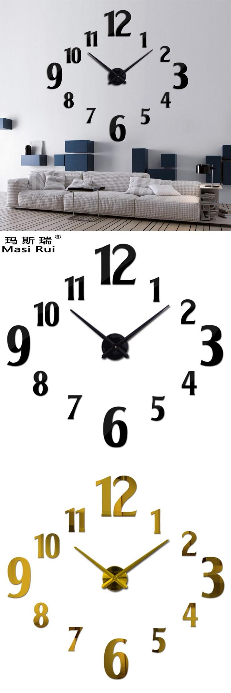 The 25 best large wall clocks ideas on pinterest clocks wall masi rui 3d large wall clock home decor quartz diy wall watch clocks living room metal amipublicfo Choice Image