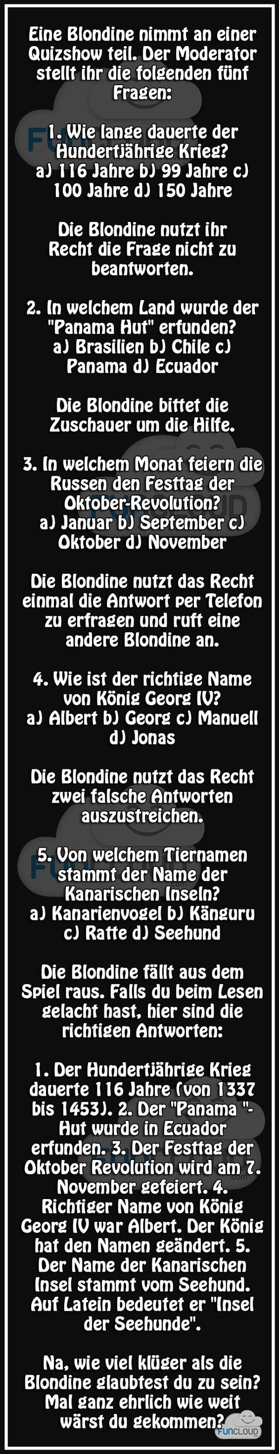 Blondine beim Quiz - Witze des Tages 10.11.2015 | Funcloud: