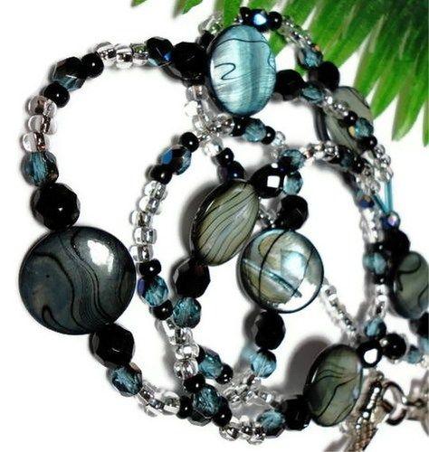 Northern Nights Beaded Lanyard Id Badge Holder Blue Black Angel AngelBadge Holders, Ideas, Beads, Badges Reel, Badges Holders Lanyards, Jewelry, Badges Holderlanyard, Angels, Id Badges Holders