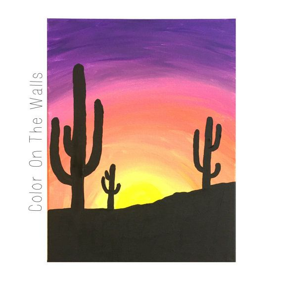 A vivid sunset featuring several cacti. 11x14 inch canvas. Acrylic paint. Ready to ship by Priority Mail. Shipping labels are printed directly