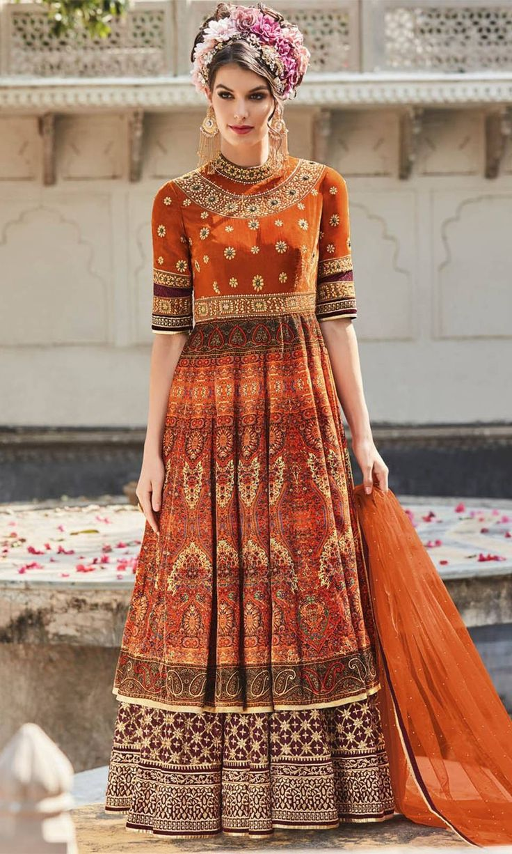 Buy online Printed Orange Frock Suit (SKU Code : SUPJDSFL7396) at Ishimaya Fashion.