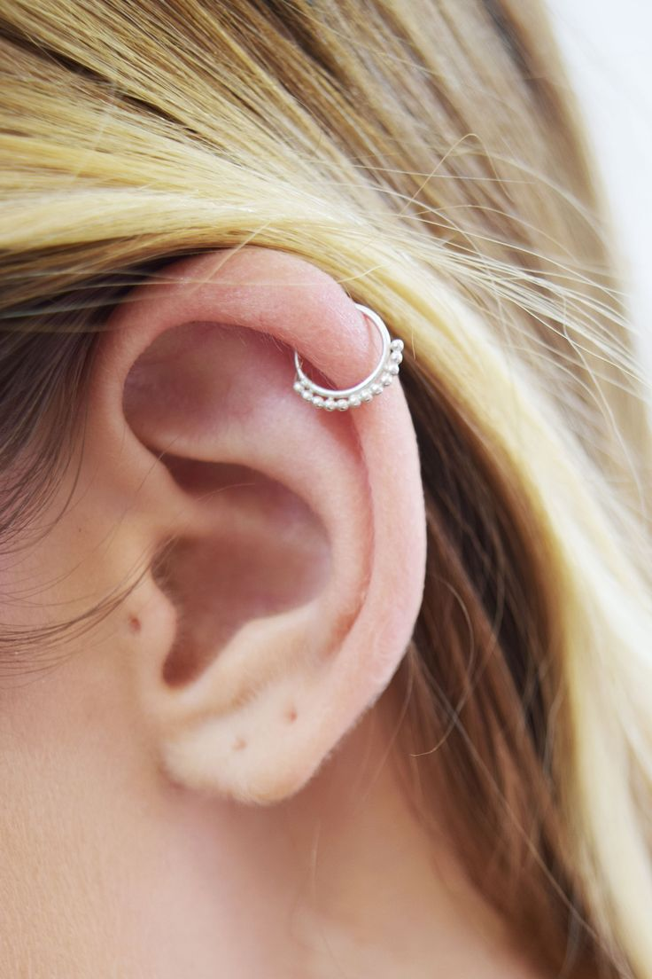 Sterling Silver beaded cartilage hoop earring. Cartilage piercing, helix piercing. Helix Jewelry. Body Jewelry. Cute piercings!