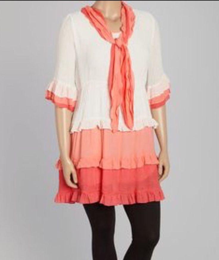 Brand New- Lady Noiz Plus Size Pink Ombré Ruffled Tunic Sz 2x NWT  No Scarf #LadyNoiz #Tunic