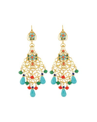 Jose & Maria Barrera Beaded Dangle Hoop Earrings lM4lQOFvK