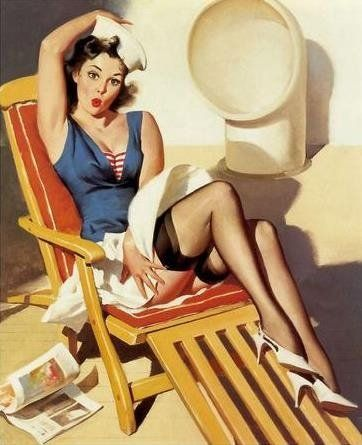 reminds me of the lounge deck on the Titanic movie.Vargas Girls, Pin Up Fashion, Pin Up Photos, Pin Up Art, Up Style, Vintage Pin Up, Pinup Girls, Gil Elvgren, Pin Up Girls