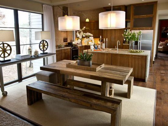 Furniture, Rustic Dining Room Design Combined With Small Kitchen And Oak  Wooden Dining Table With Bench Seat Hardwood Floor Tiles Hanging Lamp Plus  Island ...