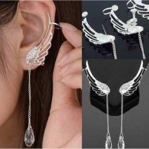Melek kanatları tasarım kristal taşlı klipsli ve saplamalı 2 farklı model manşet küpe seti