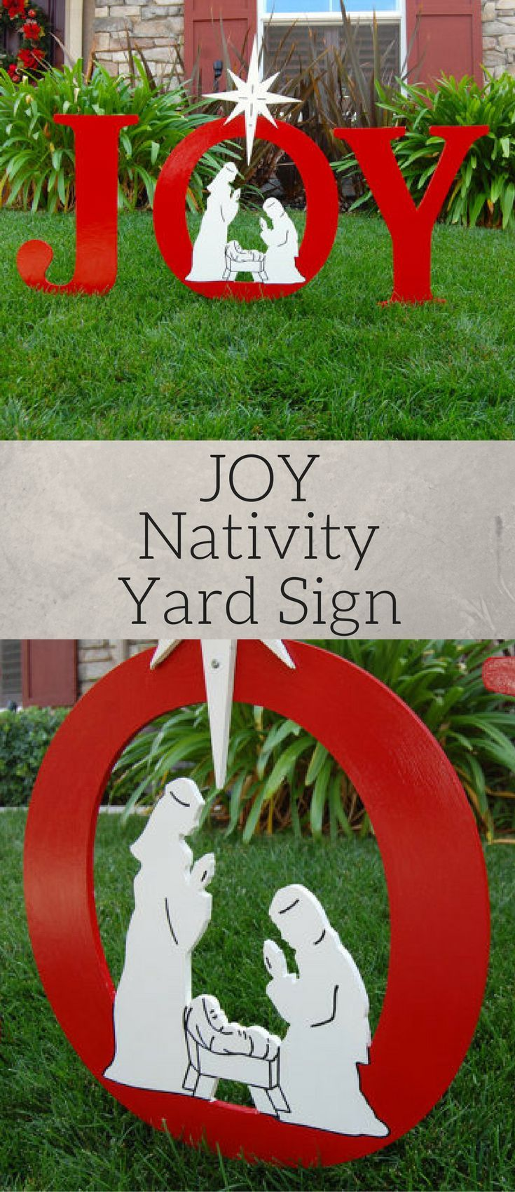 JOY Nativity Outdoor Christmas sign, Holiday Yard Art Sign, Outside ...