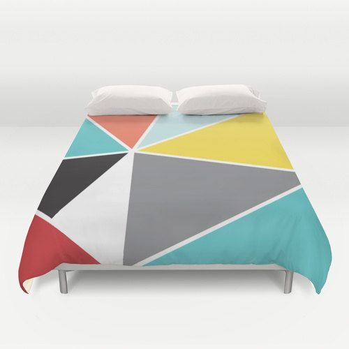 Geometric Duvet Cover Triangles Duvet Cover Mid by AldariHome