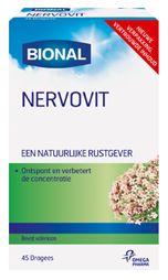 Bional Nervovit� 45 dragees - Nervovit van Bional ontspant en verbetert de concentratie. NERVOVIT� bevat in geconcentreerde vorm de werkstoffen uit de valeriaanwortel (140 mg per tablet), de zogenaamde valepotriaten. Deze werkstoffen hebben een rustgevende werking op het centrale zenuwstelsel, waardoor NERVOVIT� uitermate geschikt is bij vele vormen van innerlijke onrust, zwakke zenuwen en prikkelbaarheid.