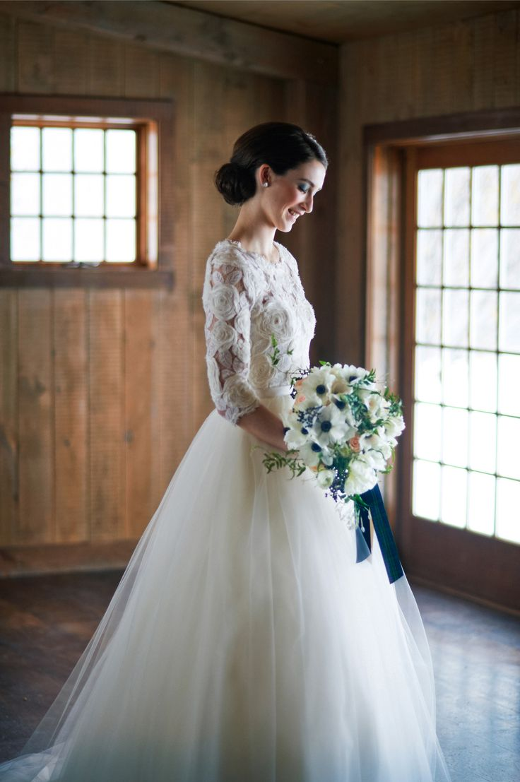Gown by Modern Trousseau via White Dress by the Shore | See more on SMP: http://www.StyleMePretty.com/tri-state-weddings/2014/03/17/tartan-and-tulle-inspiration-shoot/ Charlotte Jenks Lewis Photography