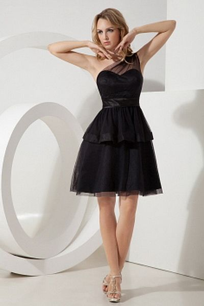 Strapless Organza Black Celebrity Gowns ted0946 - SILHOUETTE: A-Line; FABRIC: Organza; EMBELLISHMENTS: Layered; LENGTH: Knee Length - Price: 147.1200 - Link: http://www.theeveningdresses.com/strapless-organza-black-celebrity-gowns-ted0946.html