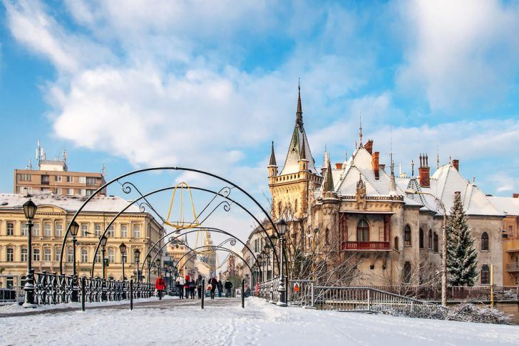 Jakab`s palace and Lovers` Bridge in winter, Kosice, Slovakia