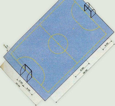 O futebol de salão requer uma quadra de 20 x 36 m. O gol deve ter 2 m de alt...