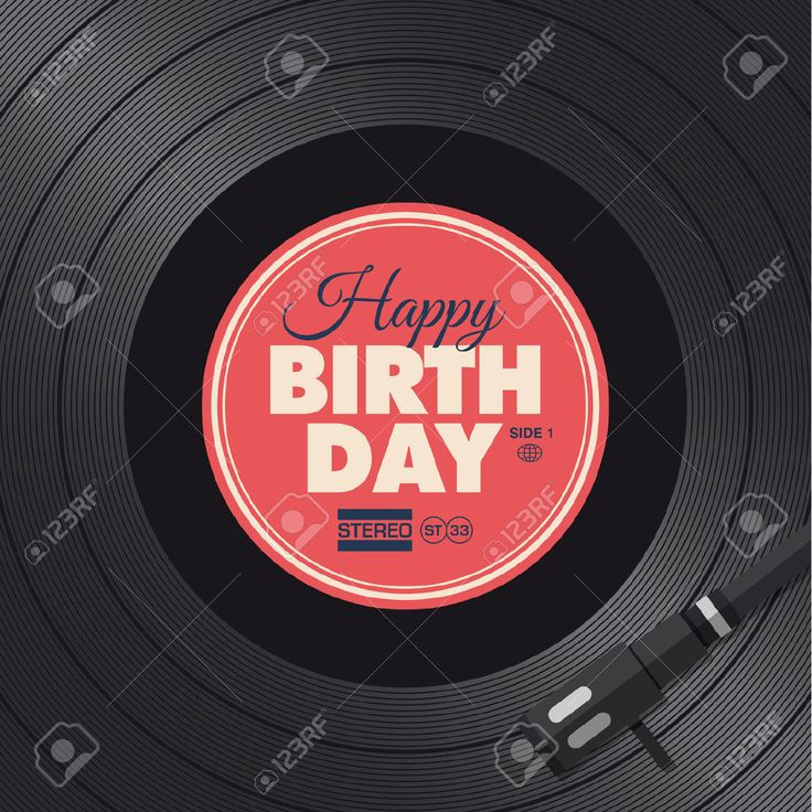 Happy Birthday Card Vinyl Illustration Background Vector