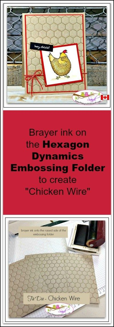 Hexagon Dynamics Textured Embossing Folder makes Chicken Wire from Sandi @ www.stampinwithsandi.com