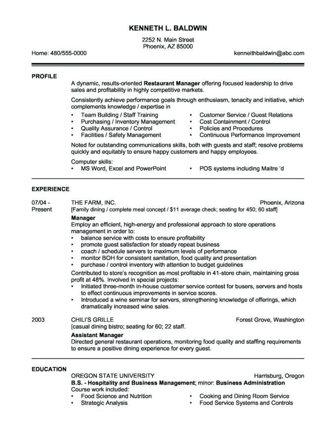 Manager Resume Resume Examples Restaurant Management Sample Resume Templates Retail Res Restaurant Management Resume Examples Manager Resume