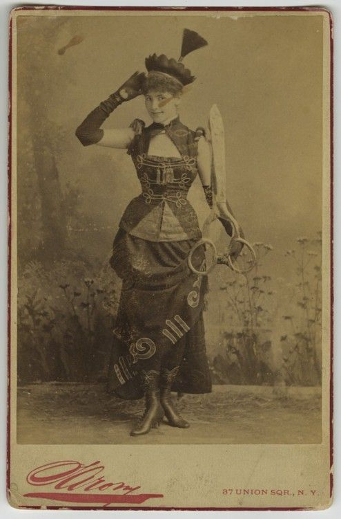 """""""woman with big scissors, cabinet card by napoleon sarony"""" (date unknown)"""