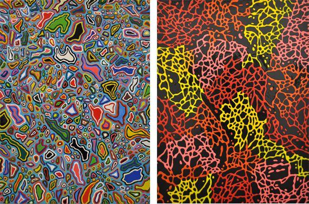 "Davide Nido, ""Le Isole di J M Basquiat"", 2011, tecnica mista su tela, cm 200x150 | Davide Nido, ""Fluido pop"", 2011, tecnica mista su tela, cm 200x150"